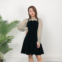2021春装新式ta5款修身显pe女连衣裙网纱拼接时尚气质(小)黑裙