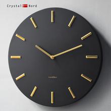Crytatal Npe黑色金属挂钟客厅现代轻奢简约卧室静音家用北欧挂表