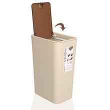 垃圾桶家用卫生间有盖按压式垃ta11桶长方pe缝扁弹盖垃圾桶