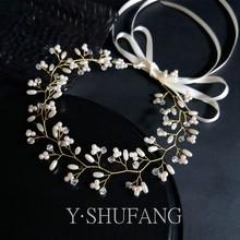新娘头ta韩式手工森pe珍珠结婚礼服发带超仙唯美串珠婚纱配饰
