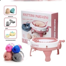 毛线帽ta线玩具手工en学工具制作(小)型家用织毛衣机48针编织机