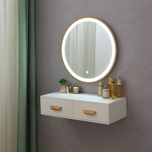 壁挂迷ta卧室网红ios欧(小)户型飘窗轻奢化妆台梳妆桌带灯