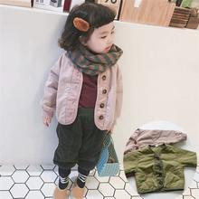 20秋ta新式男童女ng短式薄式夹棉衣外套韩国宝宝轻薄宽松棉服