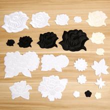 酒店台ta桌布床单被jd服熨烫修补贴白色布贴黑色玫瑰花