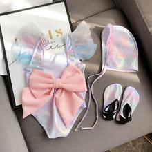 insta式宝宝泳衣ge面料可爱韩国女童美的鱼泳衣温泉蝴蝶结