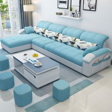 布艺沙ta现代简约三ge户型组合沙发客厅整装转角家具可拆洗