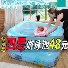 宝宝游ta池家用可折ao加厚(小)孩宝宝充气戏水池洗澡桶婴儿浴缸