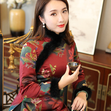 唐装短ta袄女中国风ri厚夹棉上衣过年旗袍(小)袄复古中式棉衣