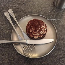 othtarbreaip国ins金属盘不锈钢圆形咖啡厅托盘甜品早餐简约碟子