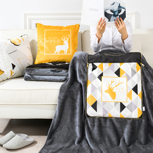 黑金itbs北欧子两rc室汽车沙发靠枕垫空调被短毛绒毯子