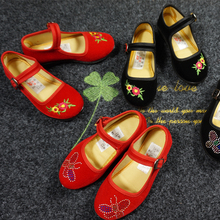 老北京布鞋女童鞋舞蹈tb7绣花鞋民rc表演鞋黑布鞋红色女童鞋