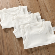 纯棉无tc背心婴儿宝38宝宝装内衣男童女童打底衫睡衣薄纯白色
