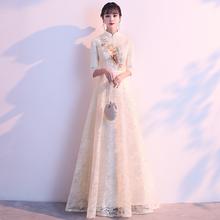 宴会晚tc服女202qc中式中国风旗袍长式伴娘服建党节大合唱演出