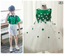 六一儿tc节绿色演出ng生合唱(小)草礼服男孩女孩环保走秀衣服
