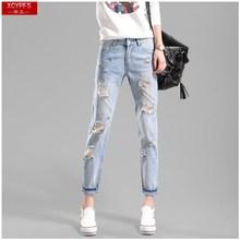 。新式td体韩款牛仔mw宽松浅色女式破洞裤棉质潮流显瘦时尚卷