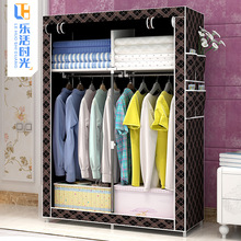 (终身td后)简易衣mw钢架组装收纳衣橱防尘储物宿舍卧室居家