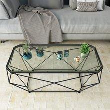 北欧长te形 创意(小)nd厅ins风铁艺玻璃桌网红时尚现代简约