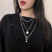 女潮的tens网红嘻nd韩款个性双层挂件毛衣链冷淡风装饰品