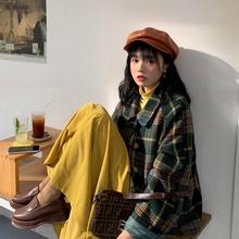 202te秋季新式女nd格子加厚长袖毛呢外套开衫上衣+T恤+半身裙