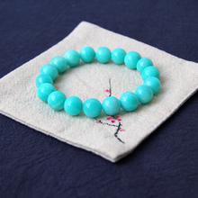 天河石te珠珠子蓝色nd生日礼物单圈手串串珠韩款简约个性天然