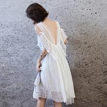 白色(小)te礼服平时可nd生日洋装(小)礼裙女赫本风宴会气质