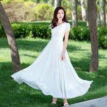 白色雪te连衣裙女式in气质超长大摆裙仙拖地沙滩长裙2020新式