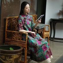 布衣美的原创棉te设计中国风in扣改良旗袍连衣裙大码宽松长款