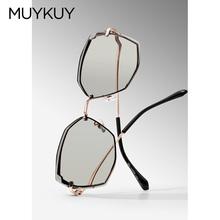 【烈儿te享】MUYmh新式切边太阳镜彩色女眼镜大框显瘦时尚