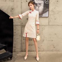 旗袍年te式少女长袖nt良款现代中国风(小)个子连衣裙学生短式夏