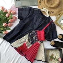 陈米米te夏季时髦女nt(小)众设计蕾丝吊带拼接欧根纱不规则衬衫