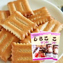 日本进te零食品 松hf海道红豆饼干105g*2宝宝夹心饼干休闲零食