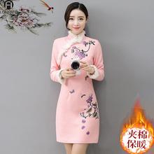 202te秋冬季夹棉hf加厚保暖长袖修身羊毛呢改良款连衣裙子