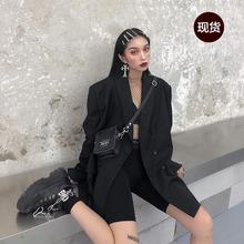 鬼姐姐te色(小)西装女hf新式中长式chic复古港风宽松西服外套潮