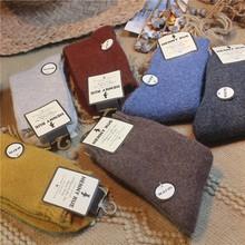 秋冬加te毛圈羊毛袜hf院风中筒袜日系纯色保暖短袜基础女袜子