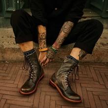 做旧复te英伦风真皮hf装马丁靴男鞋高帮长筒百搭机车牛皮靴潮