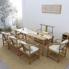 新中式te桌椅组合禅hf现代老榆木中式泡茶桌黑胡桃木实木茶台