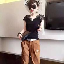 新式大te女装V领短hn蕾丝衫莫代尔拼接上衣女T百搭性感打底衫