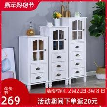 美式实te(小)单门靠墙hn子简约多功能玻璃门餐边柜电视边柜