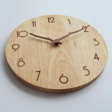 北欧卧te家用客厅大va时钟实木挂钟表静音时尚日式创意免打孔