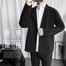(小)西装te套男韩款潮ah帅气超火网红修身上衣休闲百搭