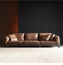 意式轻te极简真皮沙ah户型客厅现代组合复古工业羽绒头层牛皮