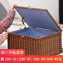 带锁收te箱编织木箱le日式收纳盒抽屉式家用整理箱盒子