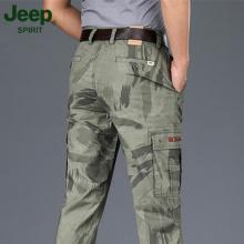 JEEPte1普正品多li裤春夏季新式纯棉休闲裤宽松直筒迷彩长裤