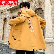 BULte DANNli牛丹尼男士风衣中长式韩款潮秋冬季帅气外套英伦风