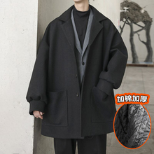 @方少te装 秋冬中li厚呢大衣男士韩款宽松bf夹棉风衣呢外套潮