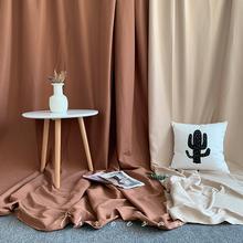 卡其棕te拍照背景布li风网红直播米色挂墙装饰布置房间摄影道具