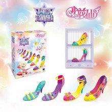 (小)花仙 女孩手工制作diy串te11过家家ha童玩具闪亮高跟鞋