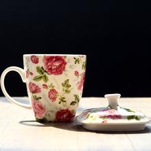 新品骨瓷水杯带盖 家用陶瓷大容te12创意马pt会议杯咖啡杯