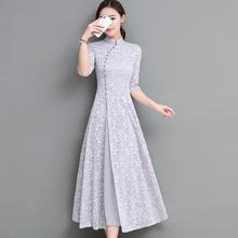 旗袍女改良te2秋202pt古中国风长裙有女的味的气质蕾丝连衣裙