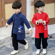 宝宝汉te男童中国风er宝中式民族服装(小)孩春秋改良复古装童装